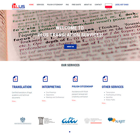 PLUS Translation Services Website